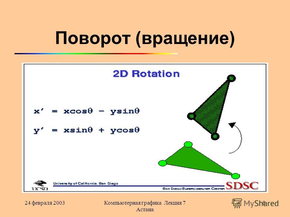 24 февраля 2003Компьютерная графика Лекция 7 Астана 8 Поворот (вращение)