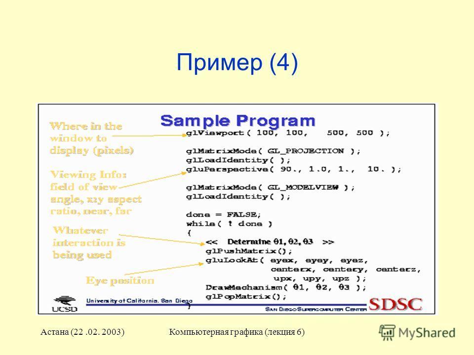 Астана (22.02. 2003)Компьютерная графика (лекция 6) Пример (4)