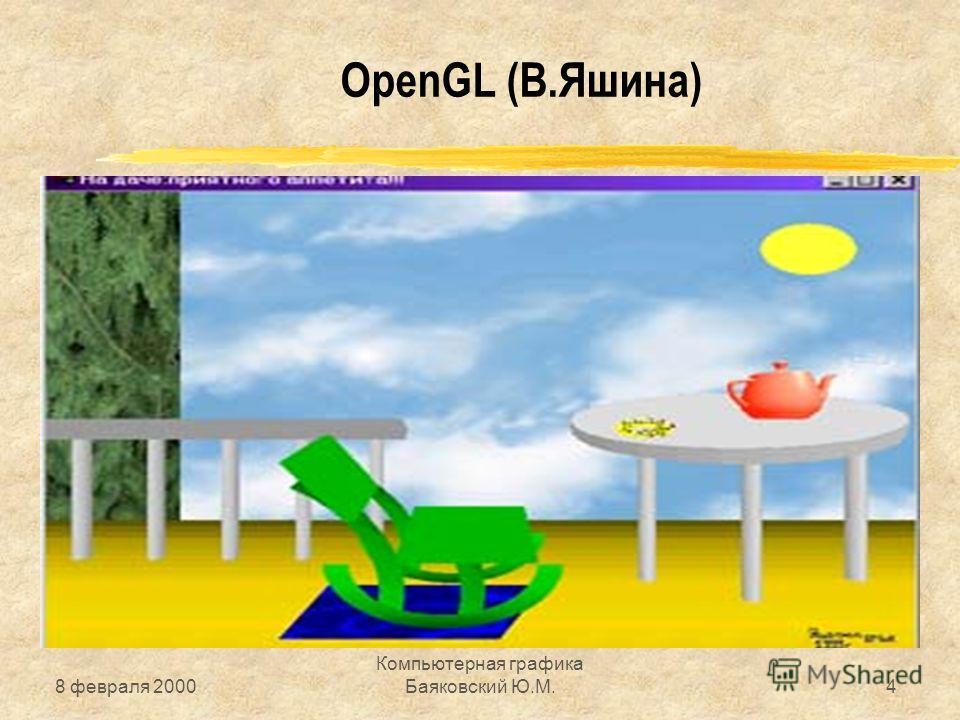 8 февраля 2000 Компьютерная графика Баяковский Ю.М.4 OpenGL (В.Яшина)