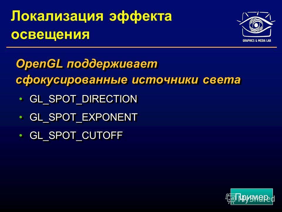 Локализация эффекта освещения OpenGL поддерживает сфокусированные источники света GL_SPOT_DIRECTIONGL_SPOT_DIRECTION GL_SPOT_EXPONENTGL_SPOT_EXPONENT GL_SPOT_CUTOFFGL_SPOT_CUTOFF OpenGL поддерживает сфокусированные источники света GL_SPOT_DIRECTIONGL