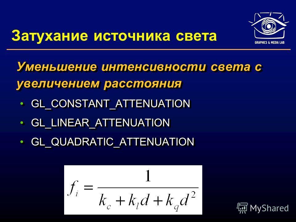 Затухание источника света Уменьшение интенсивности света с увеличением расстояния GL_CONSTANT_ATTENUATIONGL_CONSTANT_ATTENUATION GL_LINEAR_ATTENUATIONGL_LINEAR_ATTENUATION GL_QUADRATIC_ATTENUATIONGL_QUADRATIC_ATTENUATION Уменьшение интенсивности свет