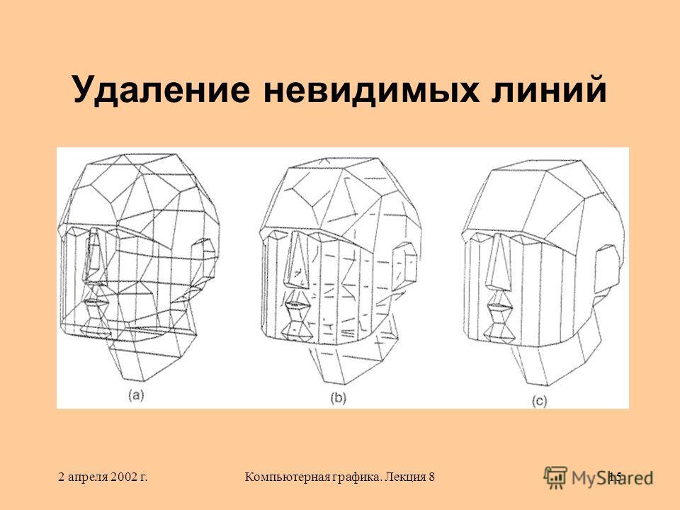 2 апреля 2002 г.Компьютерная графика. Лекция 815 Удаление невидимых линий