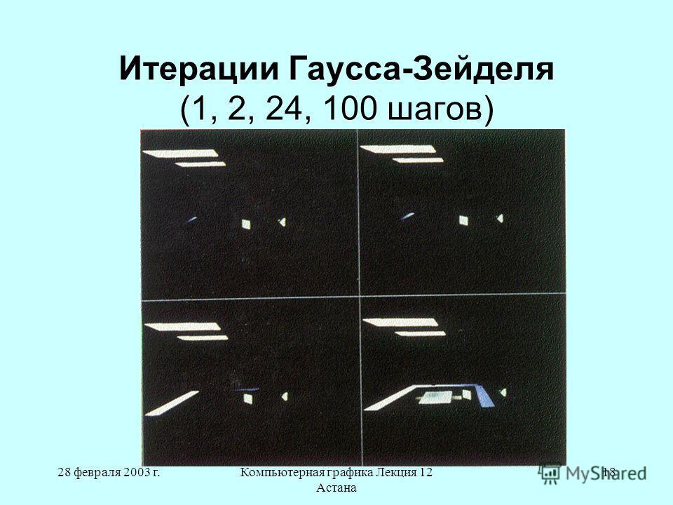 28 февраля 2003 г.Компьютерная графика Лекция 12 Астана 18 Итерации Гаусса-Зейделя (1, 2, 24, 100 шагов)