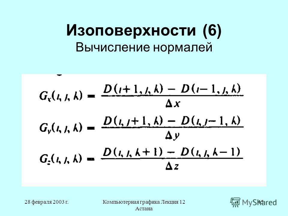 28 февраля 2003 г.Компьютерная графика Лекция 12 Астана 45 Изоповерхности (6) Вычисление нормалей