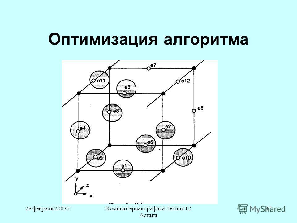 28 февраля 2003 г.Компьютерная графика Лекция 12 Астана 47 Оптимизация алгоритма