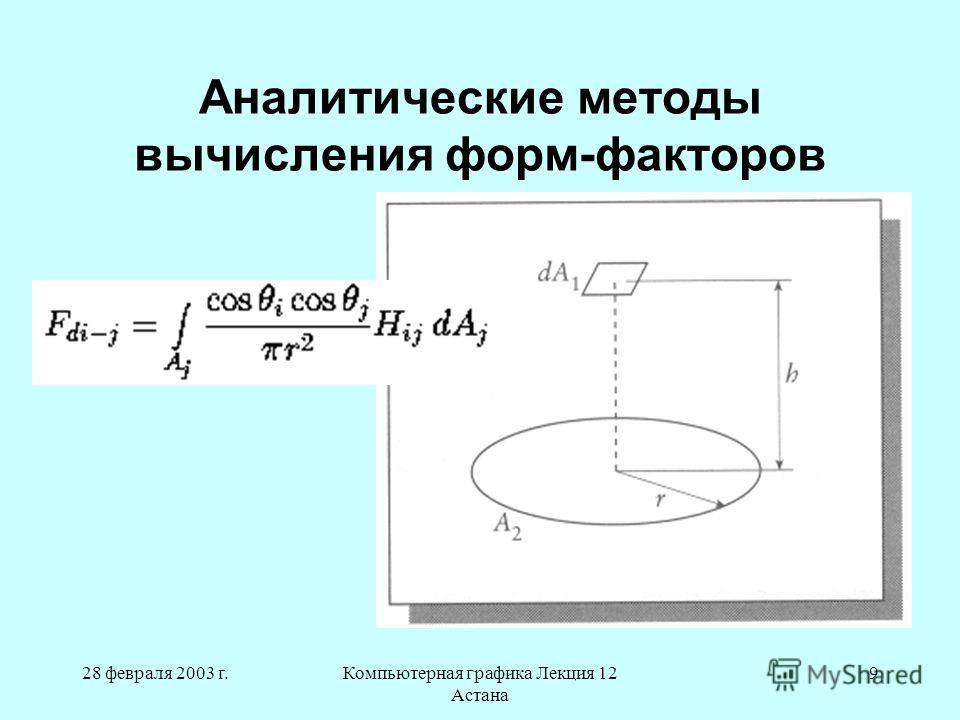 28 февраля 2003 г.Компьютерная графика Лекция 12 Астана 9 Аналитические методы вычисления форм-факторов