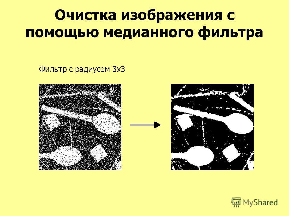 Очистка изображения с помощью медианного фильтра Фильтр с радиусом 3x3