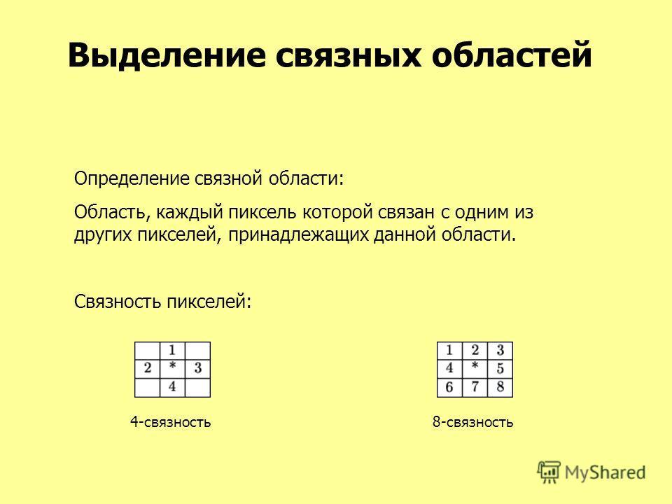 Выделение связных областей Определение связной области: Область, каждый пиксель которой связан с одним из других пикселей, принадлежащих данной области. Связность пикселей: 4-связность8-связность