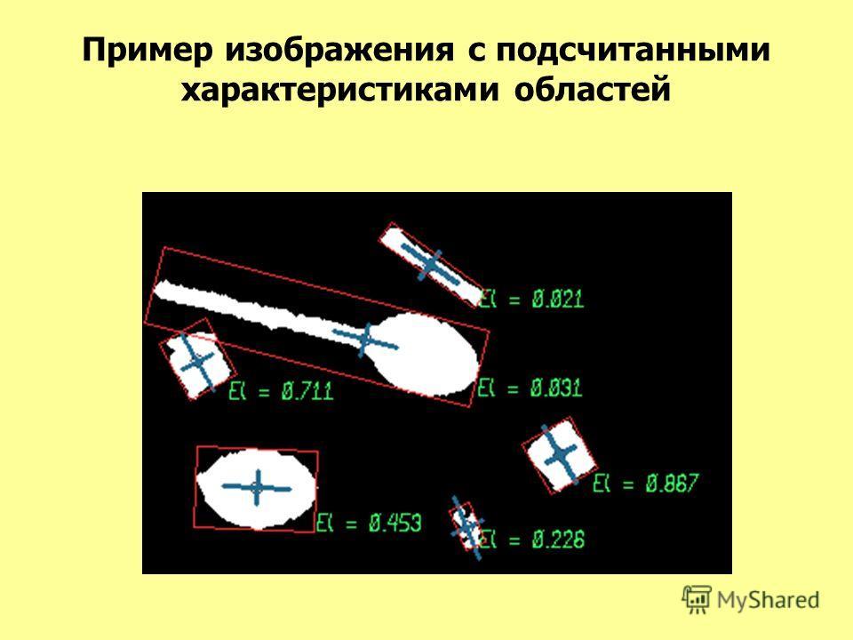 Пример изображения с подсчитанными характеристиками областей