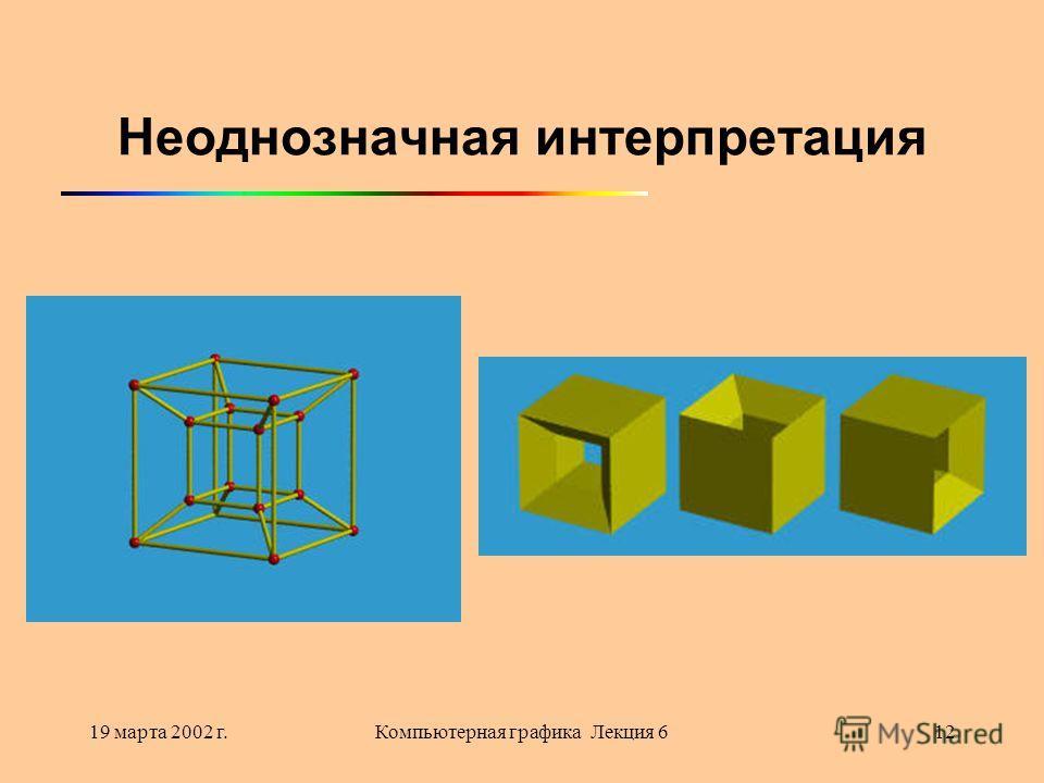 19 марта 2002 г.Компьютерная графика Лекция 612 Неоднозначная интерпретация