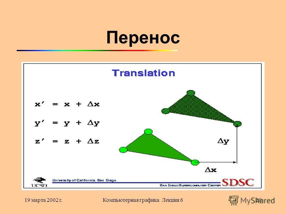 19 марта 2002 г.Компьютерная графика Лекция 629 Перенос