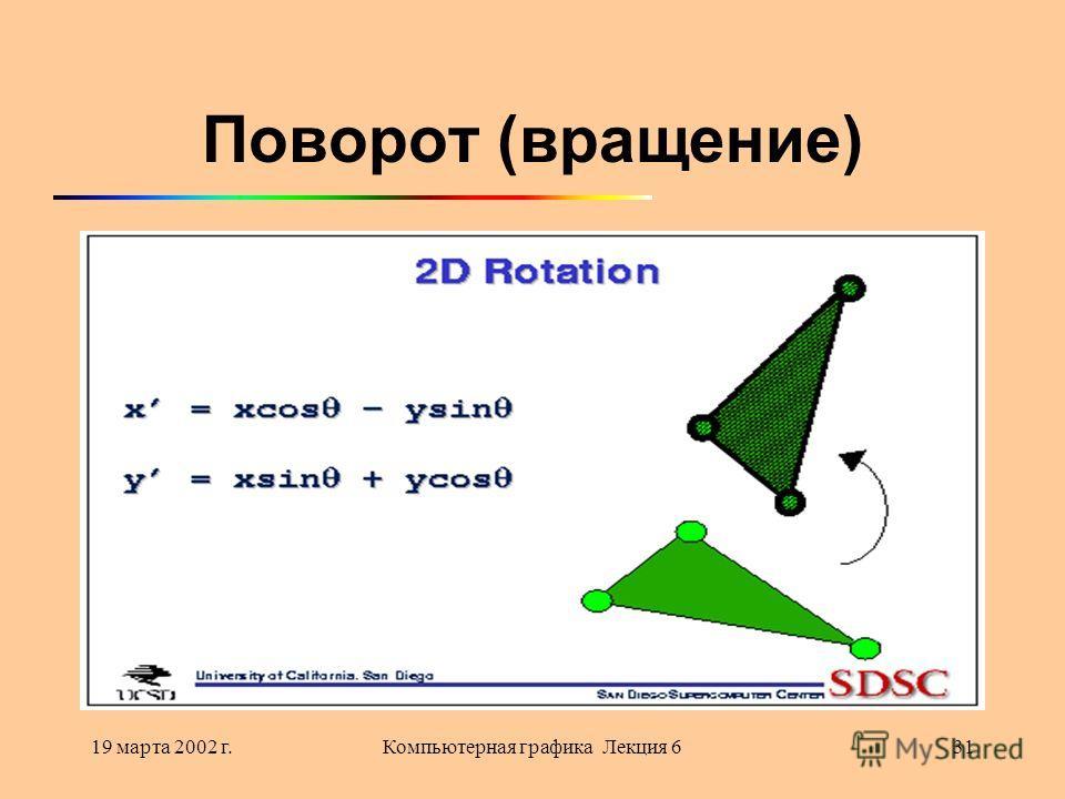 19 марта 2002 г.Компьютерная графика Лекция 631 Поворот (вращение)