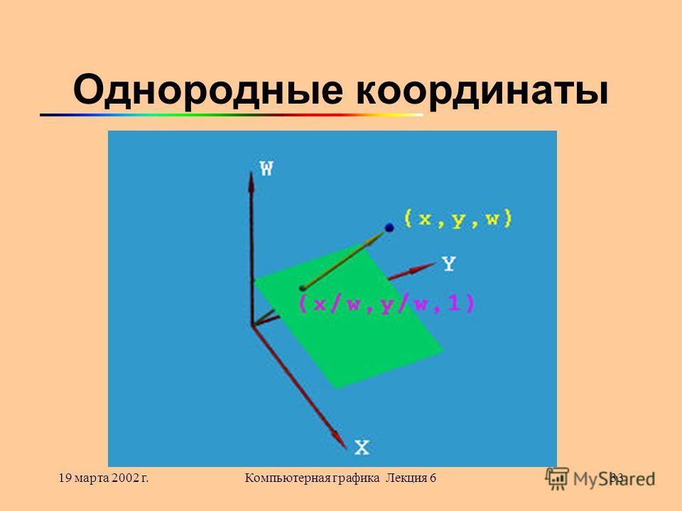 19 марта 2002 г.Компьютерная графика Лекция 633 Однородные координаты
