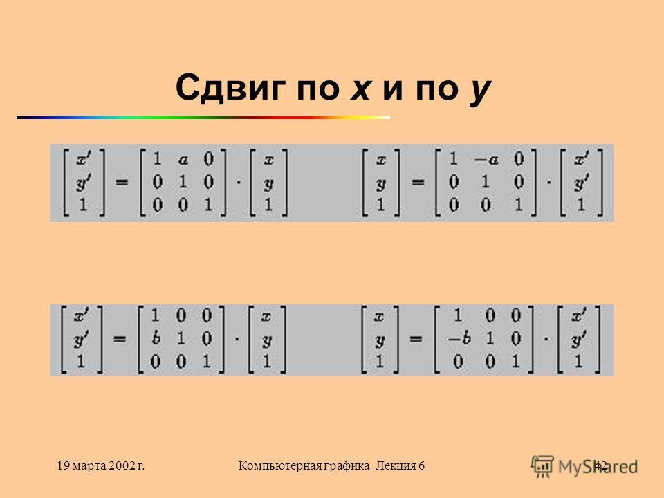 19 марта 2002 г.Компьютерная графика Лекция 642 Сдвиг по x и по y