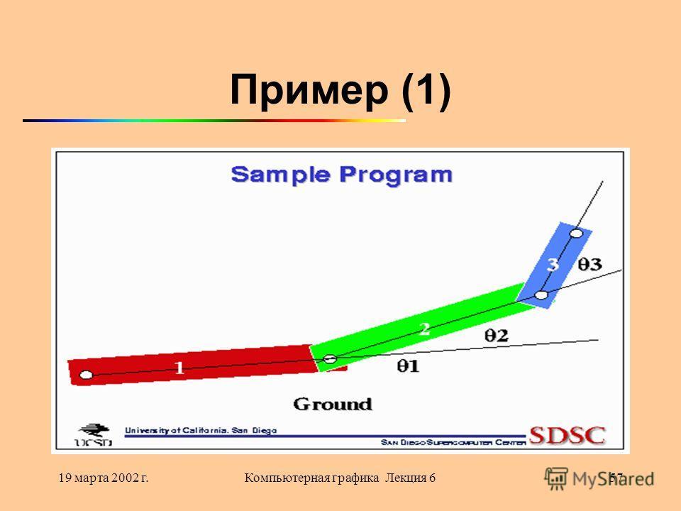 19 марта 2002 г.Компьютерная графика Лекция 657 Пример (1)