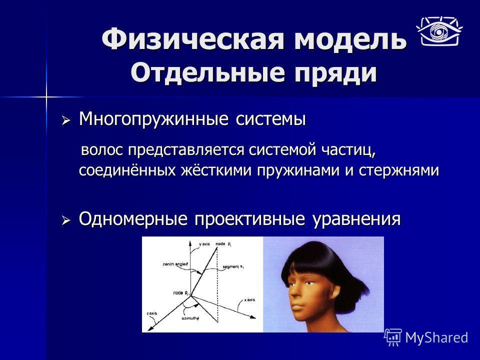 Физическая модель Отдельные пряди Многопружинные системы Многопружинные системы волос представляется системой частиц, соединённых жёсткими пружинами и стержнями волос представляется системой частиц, соединённых жёсткими пружинами и стержнями Одномерн