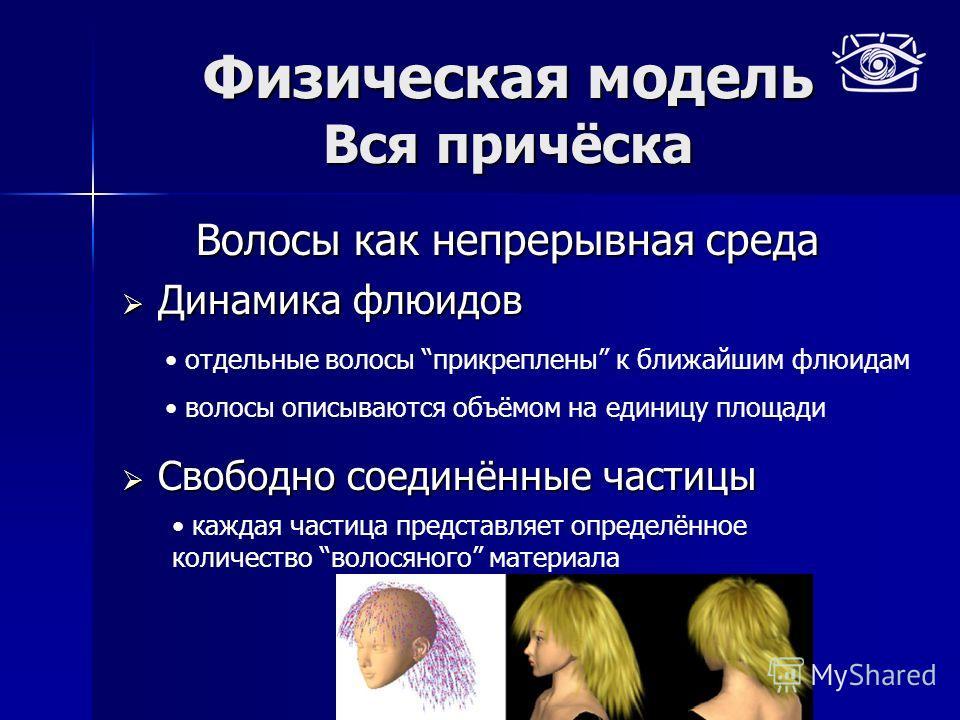 Физическая модель Вся причёска Волосы как непрерывная среда Динамика флюидов Динамика флюидов Свободно соединённые частицы Свободно соединённые частицы отдельные волосы прикреплены к ближайшим флюидам волосы описываются объёмом на единицу площади каж