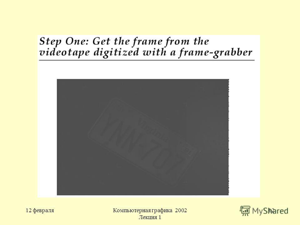 12 февраляКомпьютерная графика 2002 Лекция 1 12