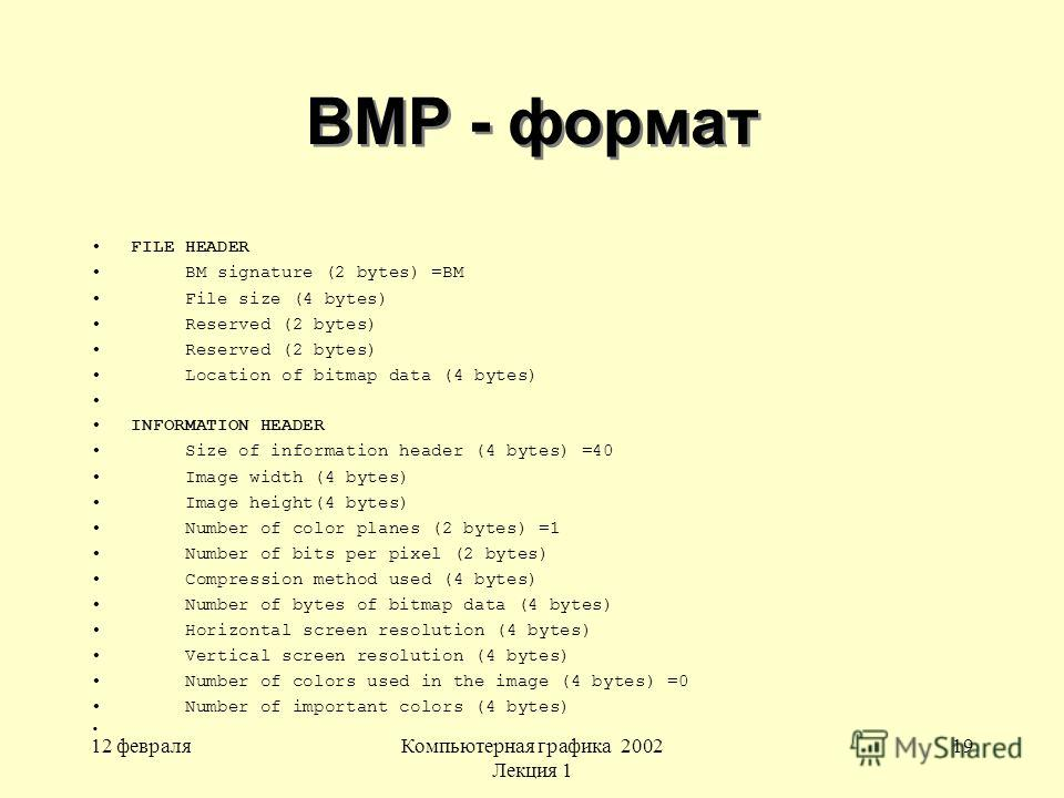 12 февраляКомпьютерная графика 2002 Лекция 1 19 BMP - формат FILE HEADER BM signature (2 bytes) =BM File size (4 bytes) Reserved (2 bytes) Location of bitmap data (4 bytes) INFORMATION HEADER Size of information header (4 bytes) =40 Image width (4 by