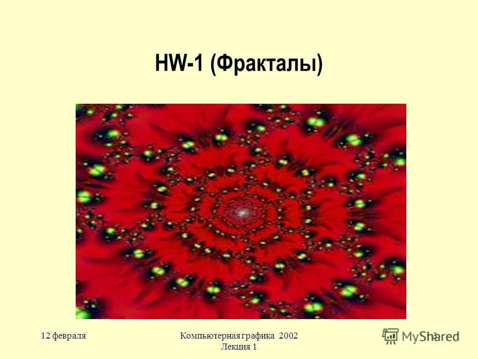 12 февраляКомпьютерная графика 2002 Лекция 1 3 HW-1 (Фракталы)