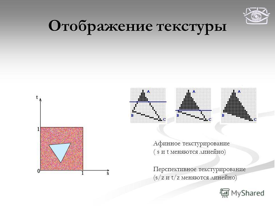 Отображение текстуры Афинное текстурирование ( s и t меняются линейно) Перспективное текстурирование (s/z и t/z меняются линейно)