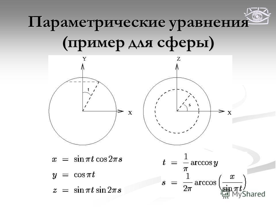 Параметрические уравнения (пример для сферы)