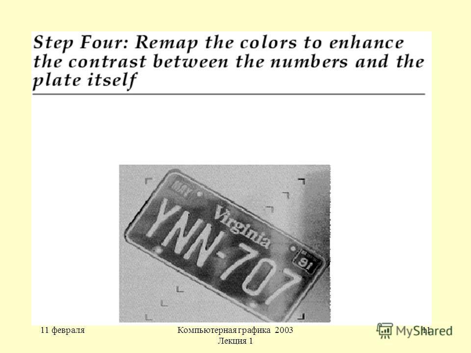 11 февраляКомпьютерная графика 2003 Лекция 1 11