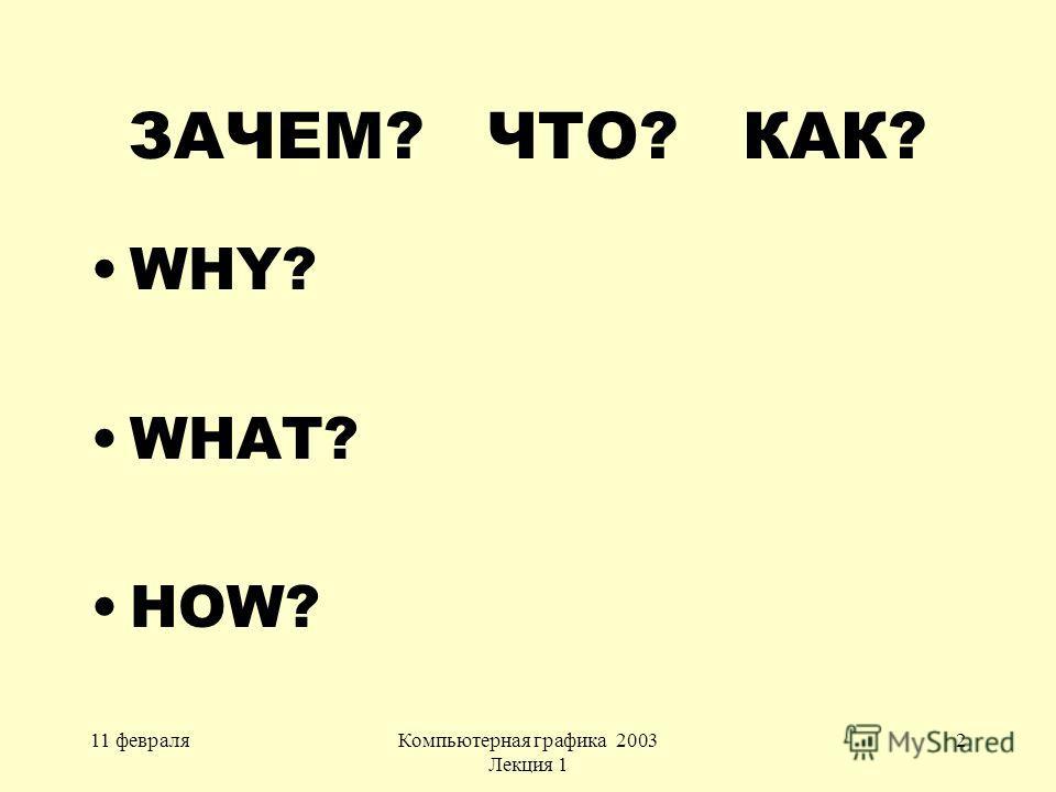 11 февраляКомпьютерная графика 2003 Лекция 1 2 ЗАЧЕМ? ЧТО? КАК? WHY? WHAT? HOW?