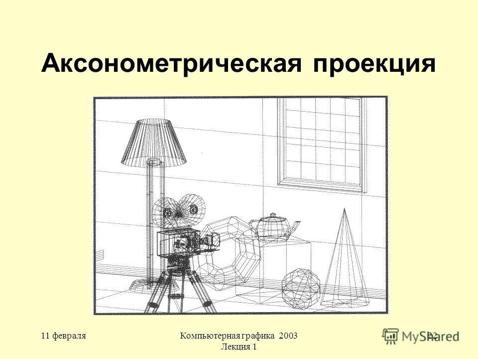 11 февраляКомпьютерная графика 2003 Лекция 1 22 Аксонометрическая проекция
