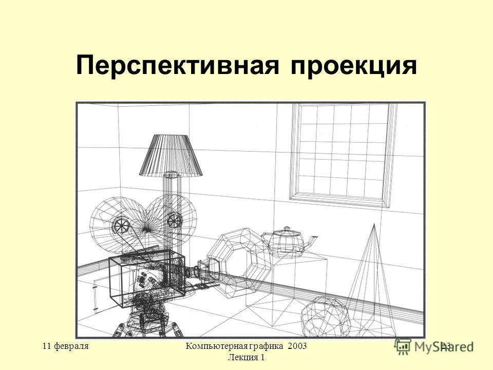 11 февраляКомпьютерная графика 2003 Лекция 1 23 Перспективная проекция