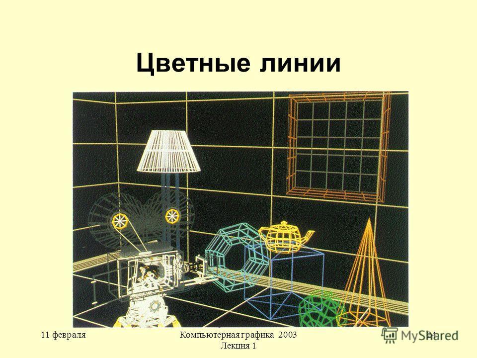 11 февраляКомпьютерная графика 2003 Лекция 1 24 Цветные линии