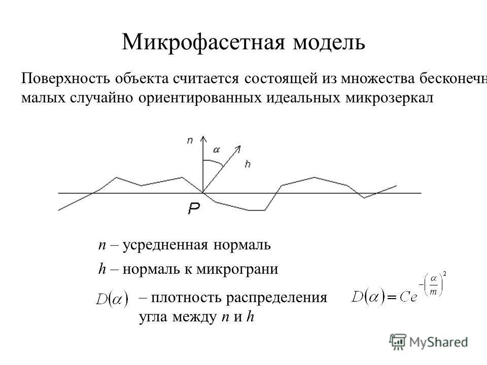 Микрофасетная модель Поверхность объекта считается состоящей из множества бесконечно малых случайно ориентированных идеальных микрозеркал n – усредненная нормаль h – нормаль к микрограни – плотность распределения угла между n и h