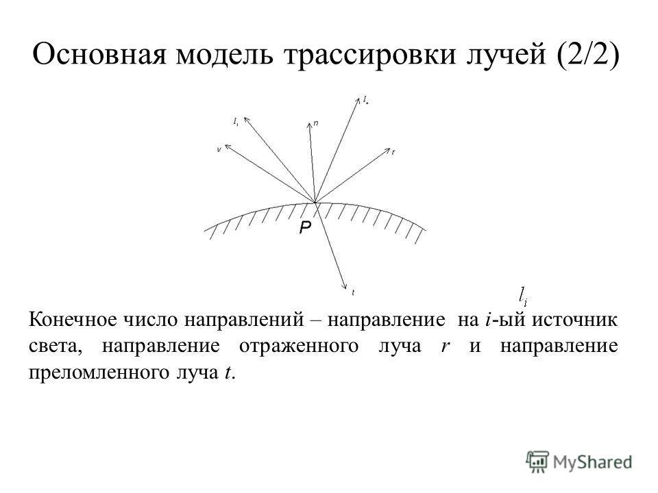 Основная модель трассировки лучей (2/2) Конечное число направлений – направление на i-ый источник света, направление отраженного луча r и направление преломленного луча t.