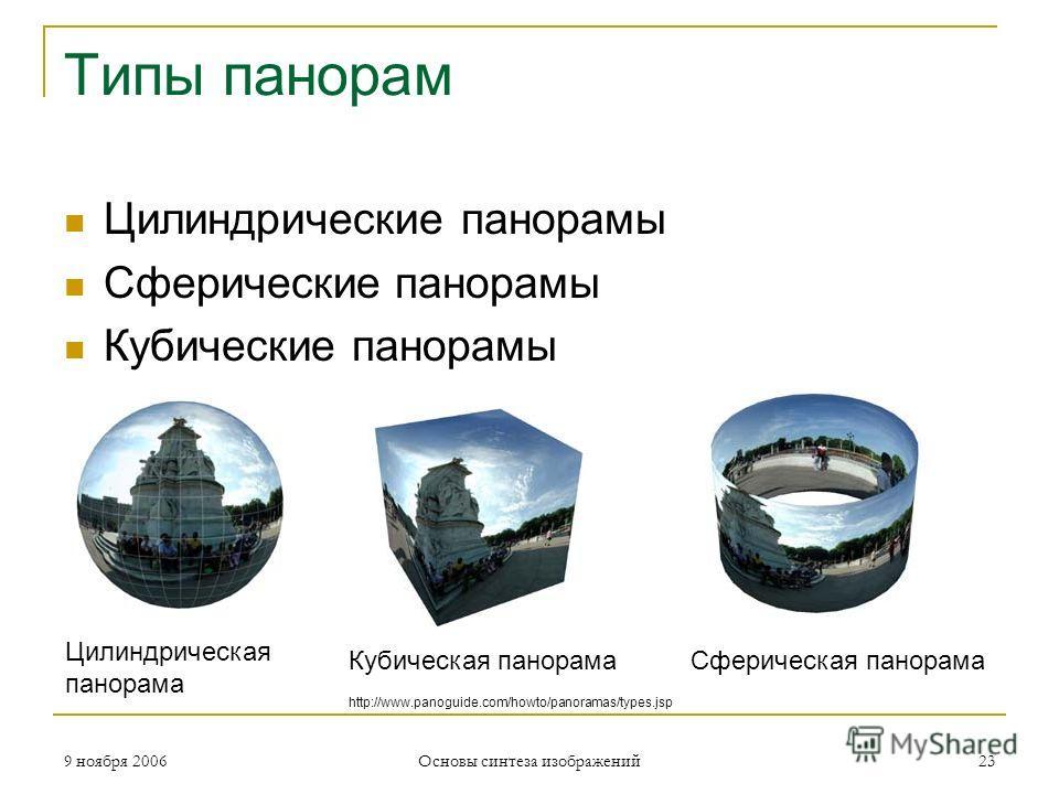 9 ноября 2006 Основы синтеза изображений 23 Типы панорам Цилиндрические панорамы Сферические панорамы Кубические панорамы Цилиндрическая панорама Сферическая панорамаКубическая панорама http://www.panoguide.com/howto/panoramas/types.jsp
