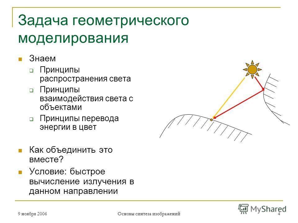 9 ноября 2006 Основы синтеза изображений 4 Задача геометрического моделирования Знаем Принципы распространения света Принципы взаимодействия света с объектами Принципы перевода энергии в цвет Как объединить это вместе? Условие: быстрое вычисление изл