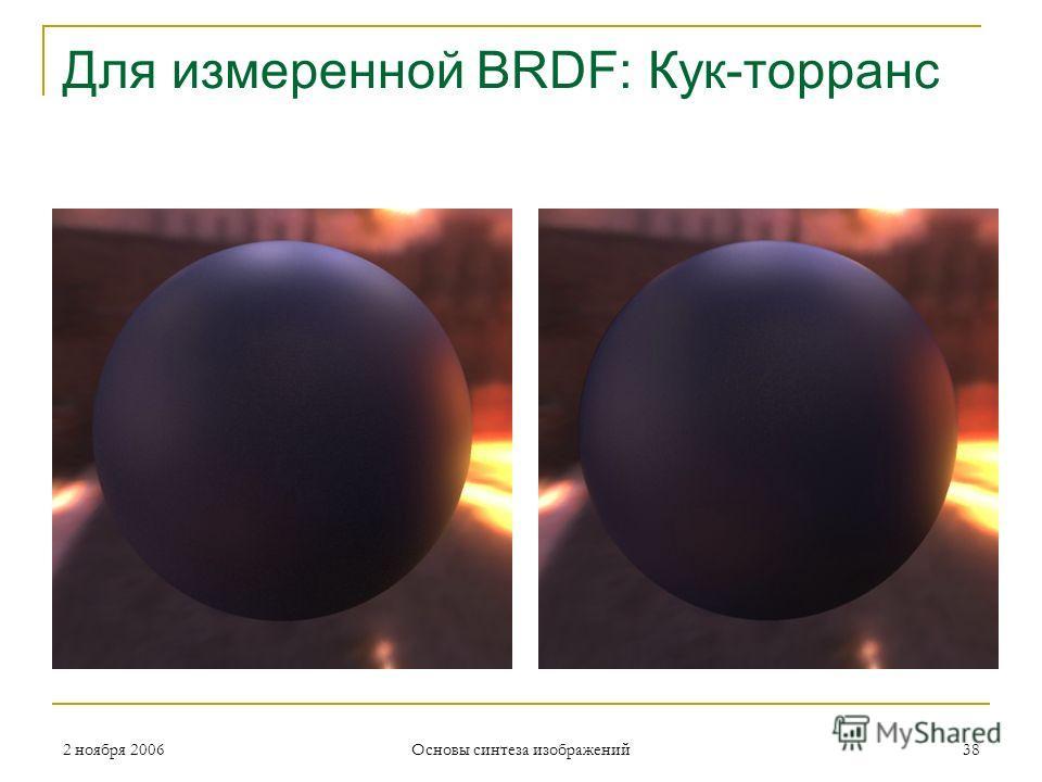 2 ноября 2006 Основы синтеза изображений 38 Для измеренной BRDF: Кук-торранс