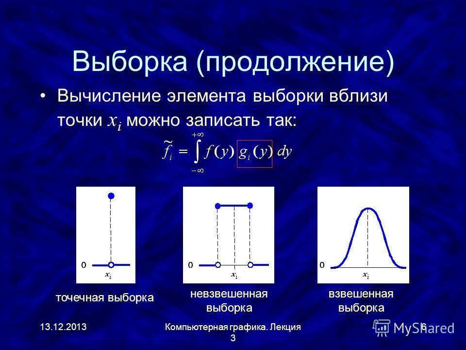 13.12.2013Компьютерная графика. Лекция 3 6 Выборка (продолжение) Вычисление элемента выборки вблизи точки x i можно записать так: точечная выборка невзвешенная выборка взвешенная выборка