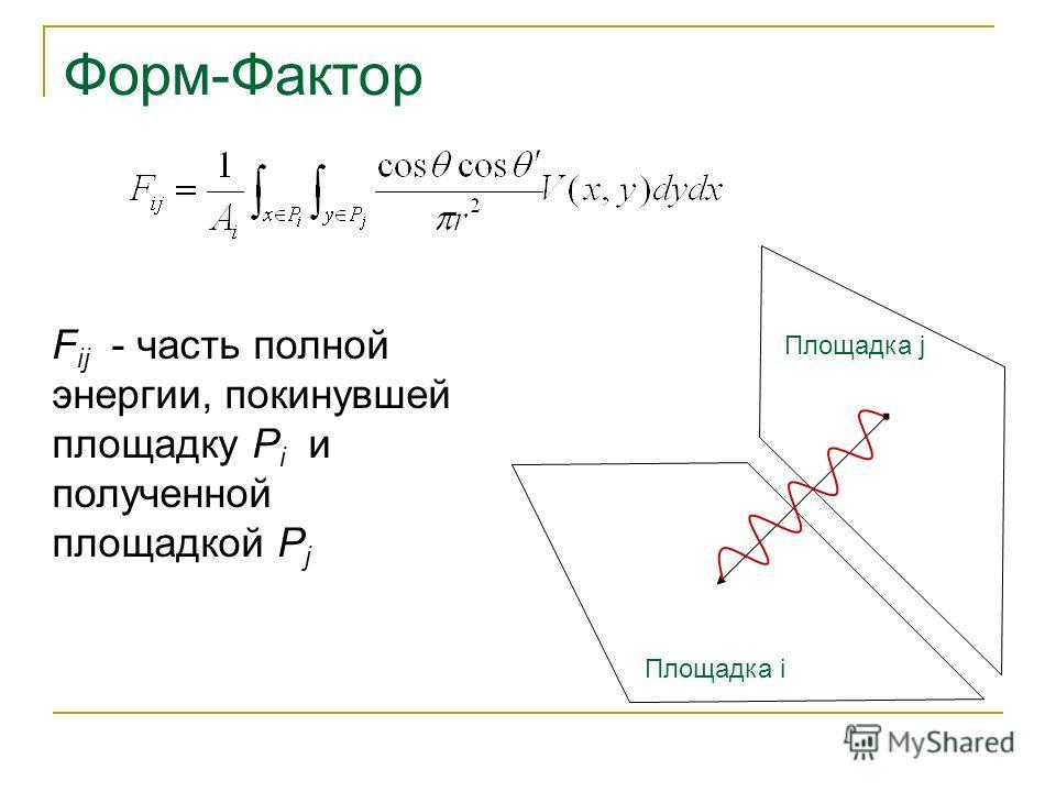 Форм-Фактор F ij - часть полной энергии, покинувшей площадку P i и полученной площадкой P j Площадка i Площадка j