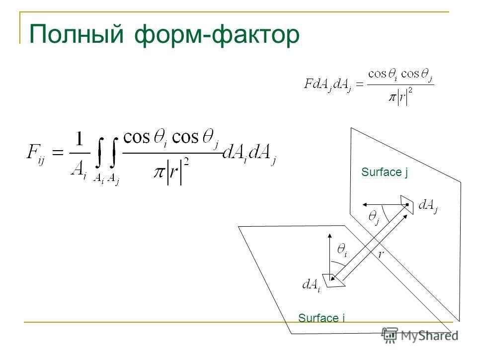 Surface i Surface j Полный форм-фактор