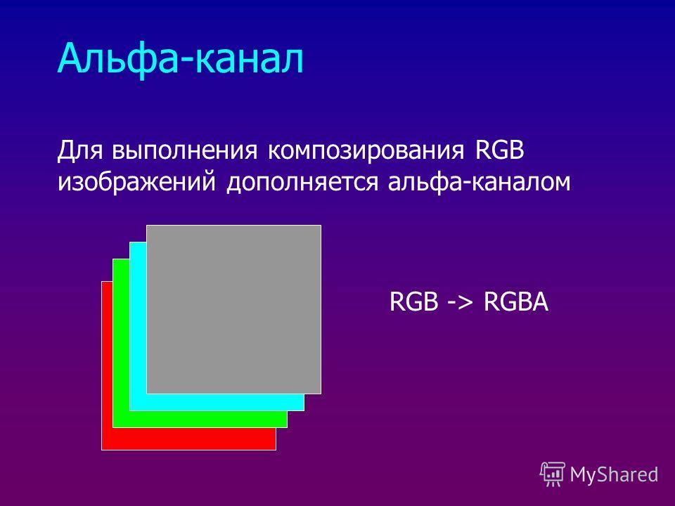 Альфа-канал Для выполнения композирования RGB изображений дополняется альфа-каналом RGB -> RGBA