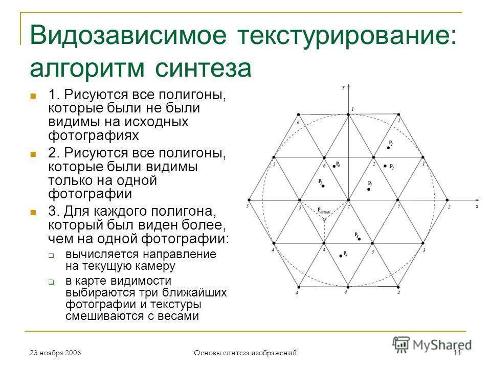 Видозависимое текстурирование: алгоритм синтеза 1. Рисуются все полигоны, которые были не были видимы на исходных фотографиях 2. Рисуются все полигоны, которые были видимы только на одной фотографии 3. Для каждого полигона, который был виден более, ч