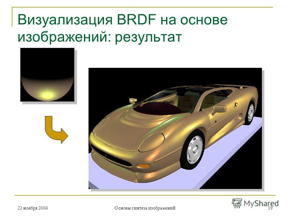 Визуализация BRDF на основе изображений: результат 23 ноября 2006 Основы синтеза изображений 19