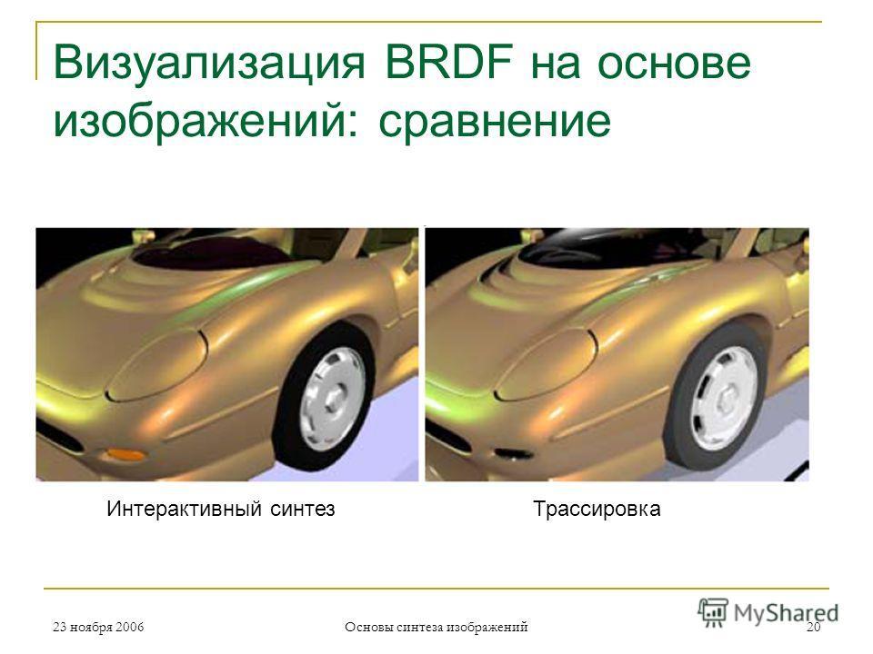Визуализация BRDF на основе изображений: сравнение 23 ноября 2006 Основы синтеза изображений 20 Интерактивный синтезТрассировка