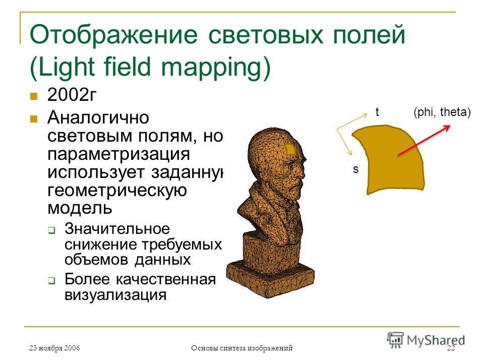 Отображение световых полей (Light field mapping) 2002г Аналогично световым полям, но параметризация использует заданную геометрическую модель Значительное снижение требуемых объемов данных Более качественная визуализация 23 ноября 200622 Основы синте