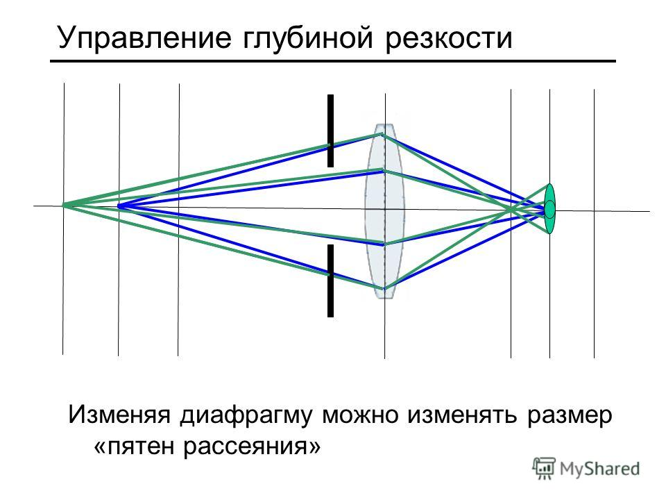 Управление глубиной резкости Изменяя диафрагму можно изменять размер «пятен рассеяния»