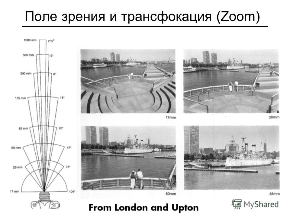Поле зрения и трансфокация (Zoom)