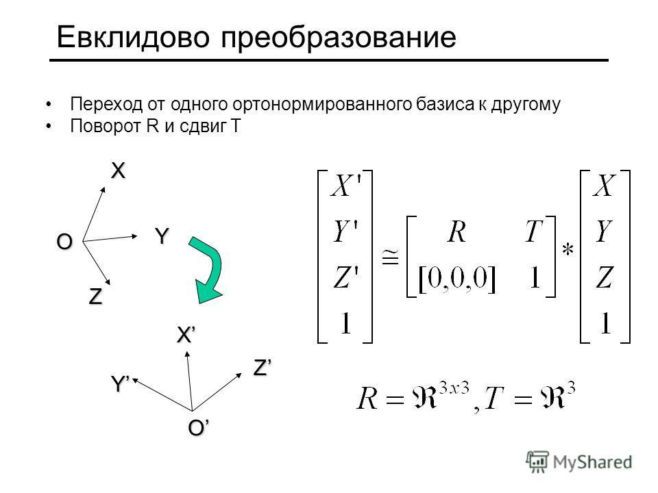 Евклидово преобразование Переход от одного ортонормированного базиса к другому Поворот R и сдвиг T X Y Z O O ZXY