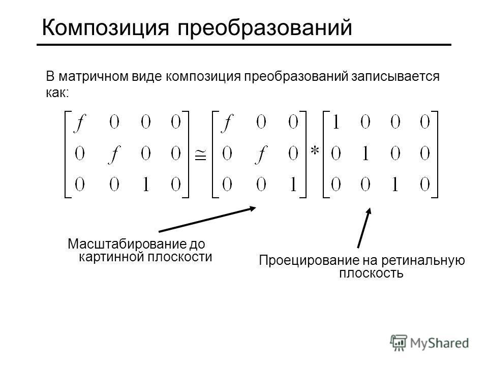 Композиция преобразований В матричном виде композиция преобразований записывается как: Масштабирование до картинной плоскости Проецирование на ретинальную плоскость