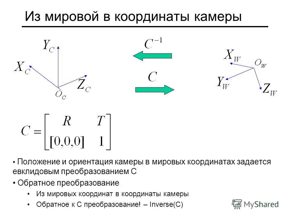 Из мировой в координаты камеры Положение и ориентация камеры в мировых координатах задается евклидовым преобразованием С Обратное преобразование Из мировых координат в координаты камеры Обратное к C преобразование! – Inverse(C)