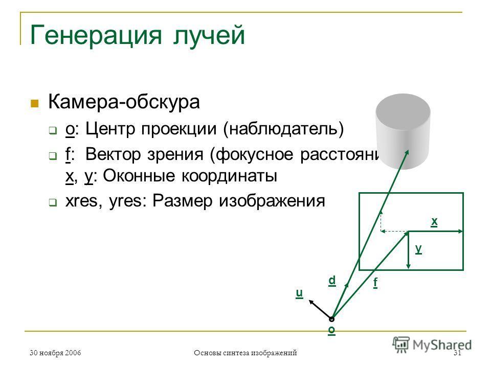 Генерация лучей Камера-обскура o: Центр проекции (наблюдатель) f: Вектор зрения (фокусное расстояние) x, y: Оконные координаты xres, yres: Размер изображения u f y x d o 30 ноября 200631 Основы синтеза изображений
